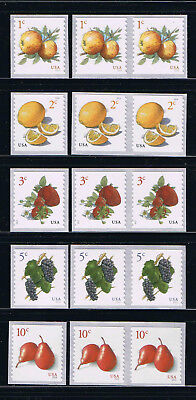 US Fruits - Apple, Lemon, Strawberry, Grape, Pear Coil Sgl + Pair Postage Stamps