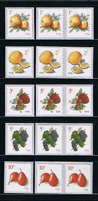 US Fruits - Apple, Strawberry, Grape, Pear Coil Sgl + Pair Postage Stamps