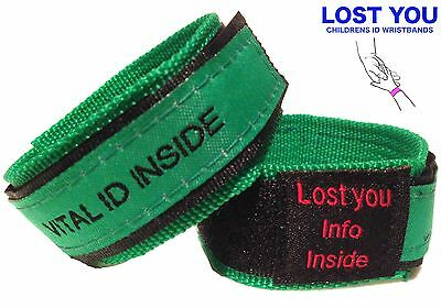 Kids Green Id Bracelet, Safety Id Band, Allergy Band Travel, Events, Medical Id