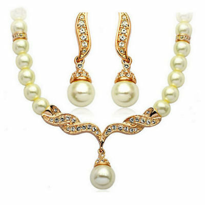 Pearl Clear Rhinestone Crystal Necklace Earrings Set Bridal Prom Wed Gold N1g