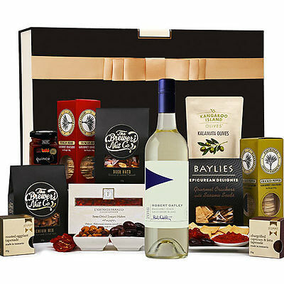 The Hamper Emporium – White Wine & Nibbles Savoury Hamper Keepsake Gift Box