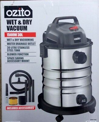 Ozito 1500W 30L Stainless Wet Dry Bagless Vacuum Cleaner Blower