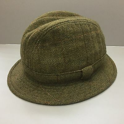 Vintage Christy's London Wool Green Tweed Trilby Hat - Size L 59CM