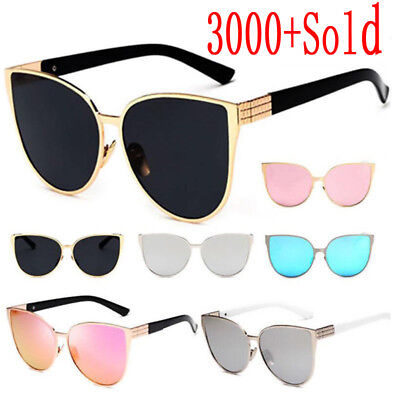 Retro Women Cat Eye Sunglasses Vintage Shades Oversized Designer Glasses Eyewear