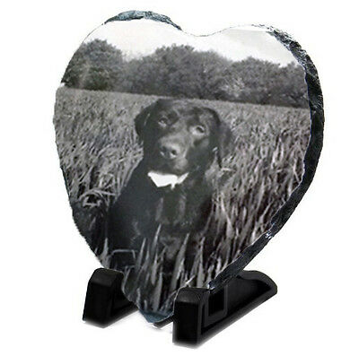 Pet Memorial Heart Photo Plaque - Personalised Slate & Stand, Dog Cat Parrot etc