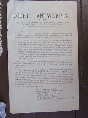 """Whitby Foresters """"Court Antwerpen"""" Public Notice.  1890."""