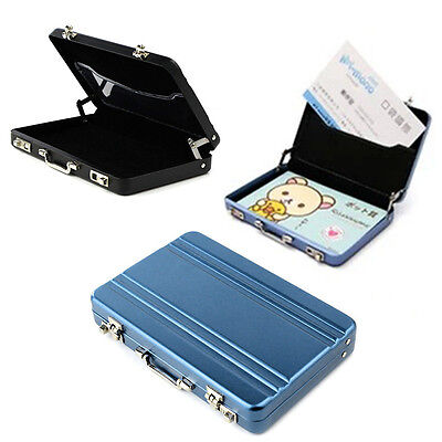 Mini Aluminum Metal Briefcase Business ID Credit Card Holder Box Wallet Suitcase