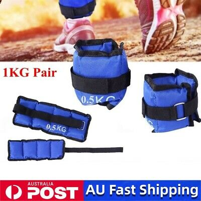 2x 0.5kg Ankle Weights Sport GYM Weights Wrist Fitness RunningTraining 1KG Blue
