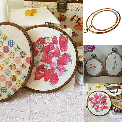 Oval/Round Wooden Hoop/Ring Embroidery Frame Cross Stitch Sewing Tool