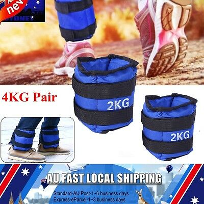 2x 2kg Ankle Weights Sport GYM Weights Wrist Fitness RunningTraining 4KG Pair