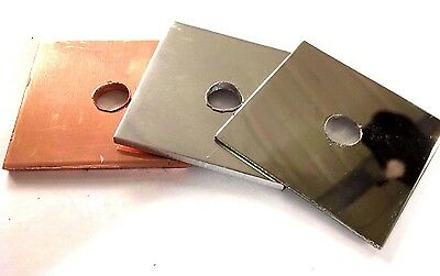 NEW 50mm x 50mm Square Plate Washers A4 MIRROR Stainless Steel Copper Aluminium