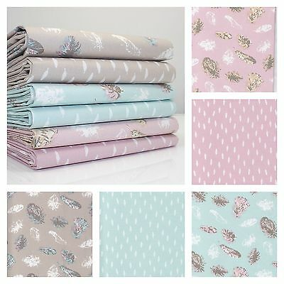 PASTEL FEATHERS - 100% WOVEN cotton  Fabric FQ METRE or BUNDLE all colours