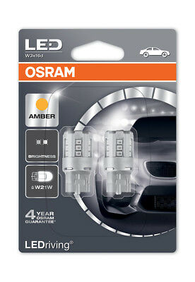 Osram LED Indicator Bulbs 582/382W Amber W21W Wedge W3x16d T20 12V 1W 7705YE-02B