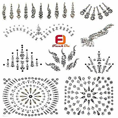 Silver Fancy Bridal Bindi Tattoo Indian Diamante Wedding Tikka Festival Gem Uk