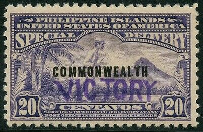 """Philippines #e9 Vf Tropical Gum """"victory"""" Handstamped W/ Psag Cert Hw2613"""