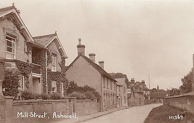 Mill Street, Ashwell, Herts, Real photo, plain back, old postcard, unposted