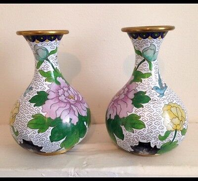 Pair Of Cloisonne Vases With Highly Detailed Enamel Work