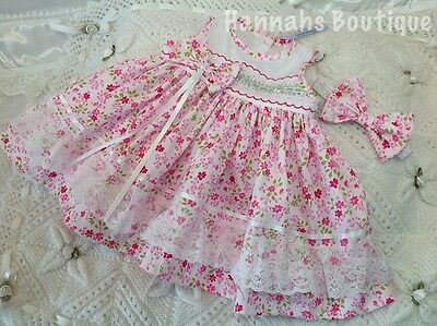 Hannahs Boutique 0-3 Month Baby Sleeveless Dress & Headband Set Or Reborn 20-24""