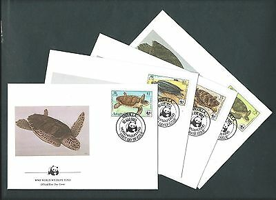 Anguilla 1983. WWF Official FDC. Endangered Species - Turtles.  x 4 Covers (79)