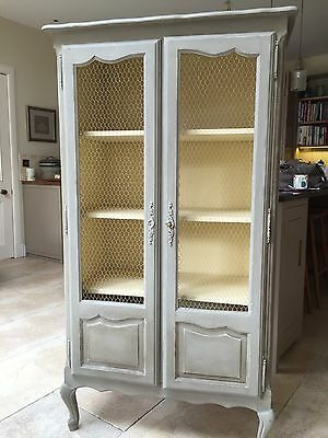 Antique French linen cupboard/armoire with chicken wire doors