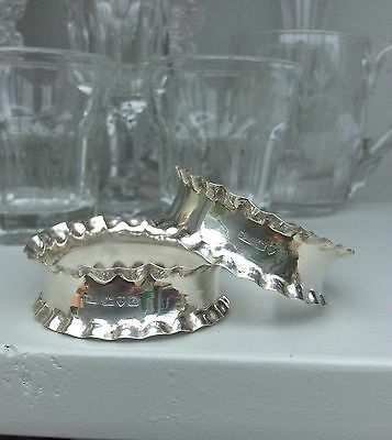 Napkin Rings Pair English Silver  Chester 1939