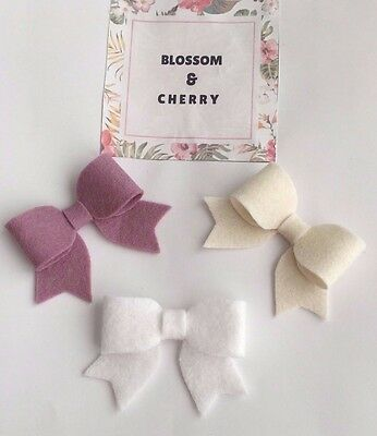 Set of 3 Beautiful Felt Bow Headbands - Baby, Girl, Toddler Headbands
