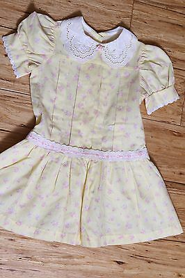 Sweet Vintage Evy Drop Waist Lace Collar Yellow & Pink Calico Girls Dress Size 4