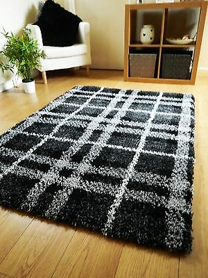 New Large Thick Black White Shaggy Pile Rugs Modern Design Long Hall Runners Uk