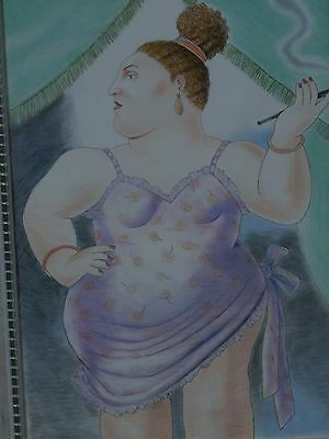 Fernando Botero     Colored Pencil Drawing  Lady Smoking   Signed