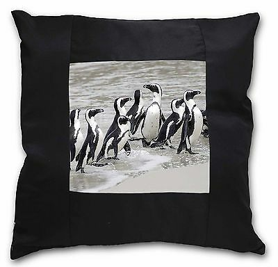 Sea Penguins Black Border Satin Feel Cushion Cover With Pillow Inser, AB-101-CSB