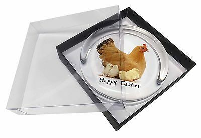 Hen with Chicks 'Happy Easter' Glass Paperweight in Gift Box Christm, AB-109EAPW