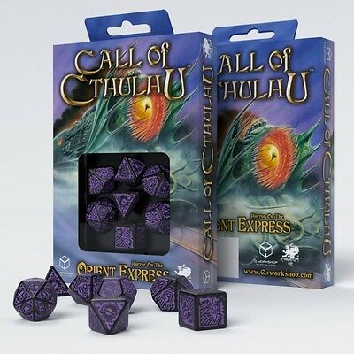 Q-Workshop Cthulhu: Horror on Orient Black/Purple Dice Set (7) | Würfelset