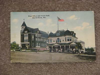 Post office & Town Hall, Old Orchard, Me., used vintage card