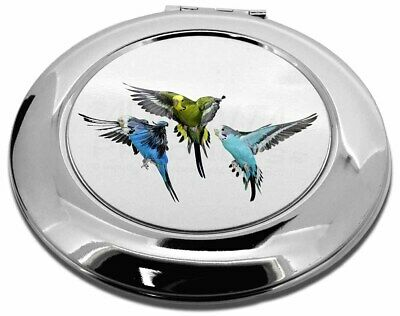 Budgerigars, Budgies in Flight Make-Up Round Compact Mirror Christmas , AB-94CMR