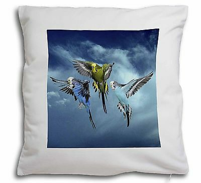 Budgies in Flight Soft Velvet Feel Cushion Cover With Inner Pillow, AB-96-CPW