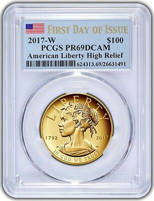 2017-W $100 American Liberty High Relief PCGS PR69DCAM First Day - Blue Flag