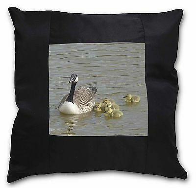 Canadian Geese and Goslings Black Border Satin Feel Cushion Cover Wit, AB-G1-CSB