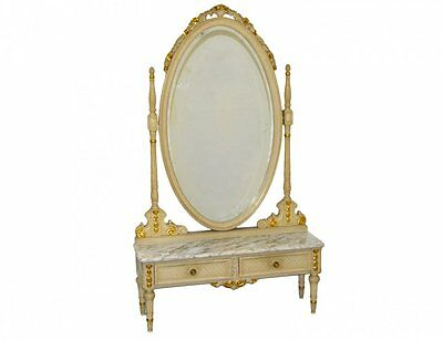 French Marble Top Painted Pier Table And Mirror Vanity