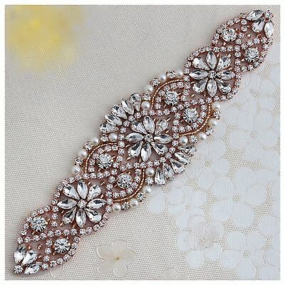 Bridal Bridesmaid Prom Dress Crystal Pearl Rose Gold Small Appliqué Sash Belt