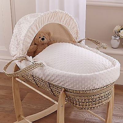 New Clair De Lune Cream Dimple Palm Unisex Baby Moses Basket & Safety Mattress