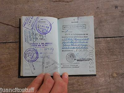 1974 Uruguay DIPLOMATIC PASSPORT complete with RARE VISAS check the list !