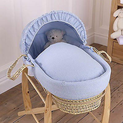 New Clair De Lune Blue Waffle Palm Baby Boys Moses Basket & Safety Mattress