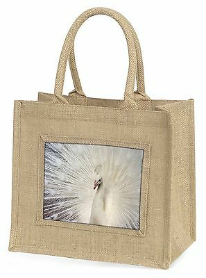 White Feathers Peacock Large Natural Jute Shopping Bag Christmas Gif, AB-PE19BLN