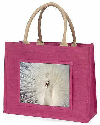 White Feathers Peacock Large Pink Shopping Bag Christmas Present Ide, AB-PE19BLP