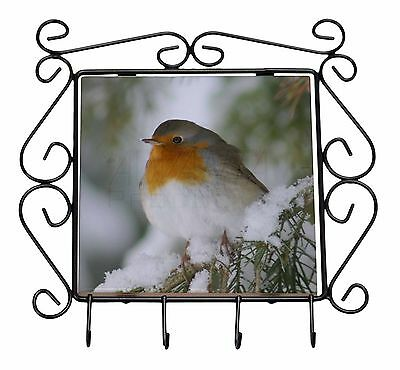 Robin Red Breast in Snow Tree Wrought Iron Key Holder Hooks Christmas , AB-R16KH