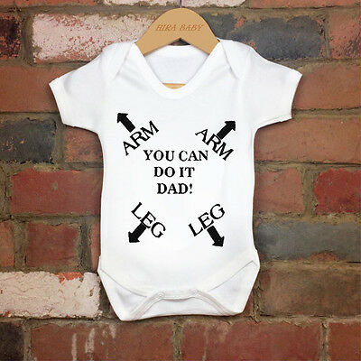 2017 Funny 100% Cotton Arm&Leg Direction to Dad Baby Bodysuit Grow  Nontoxic Ink