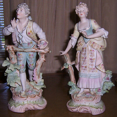 Antique French Bisque Large Porcelain Man & Woman Marked - Stunning!