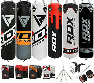 RDX Filled Punch Bag Kick Boxing Set Gloves Punching MMA Ceiling Hook Chains PX