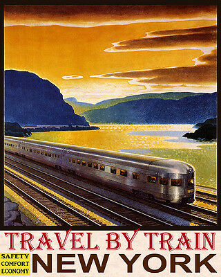 Poster Travel By Train Safety Comfort Economy New York Usa Vintage Repro Free Sh