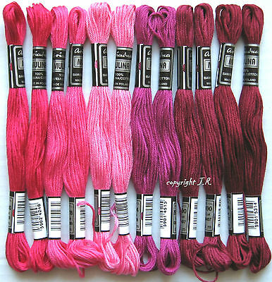 Embroidery thread 12 Dock PINK-WINE RED with Sticktwist made of Cotton -09